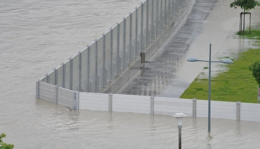 Town of Grein, Austria. Local government has set up metallic barriers to prevent floods.