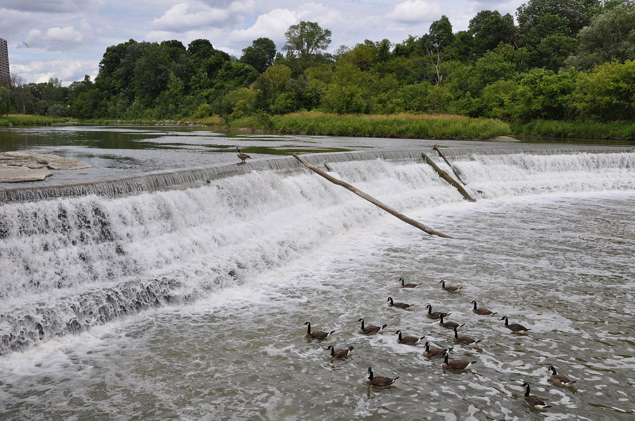 A weir on the Humber River near Raymore Park in Toronto, Ontario, Canada