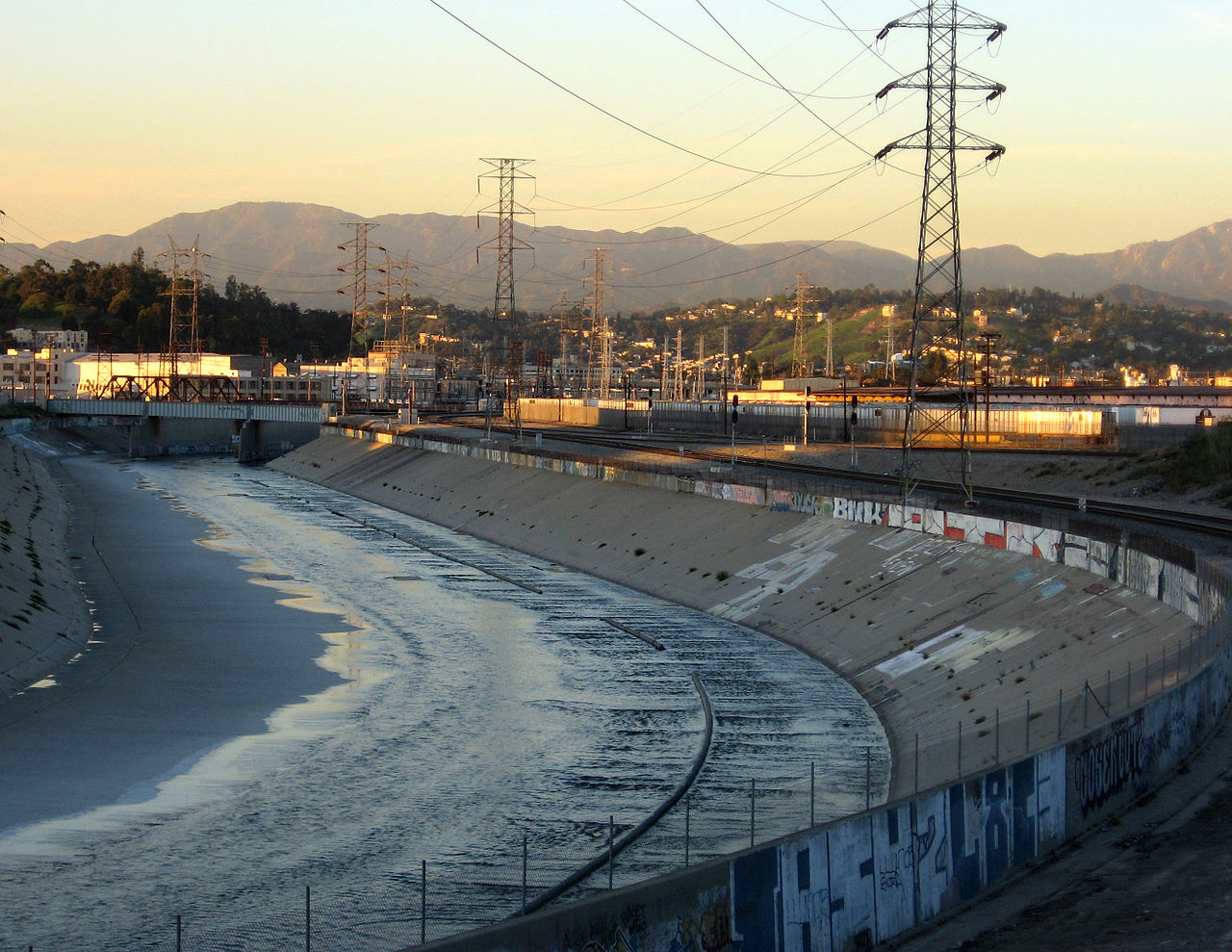 The Los Angeles River is extensively channelized with concrete embankments.