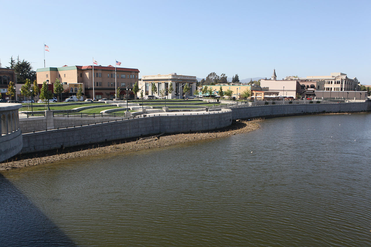 A portion of the Napa River floodwall constructed by the Corps of Engineers