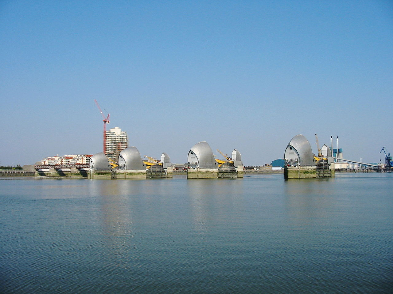 Far view of the River Thames Flood Barrier