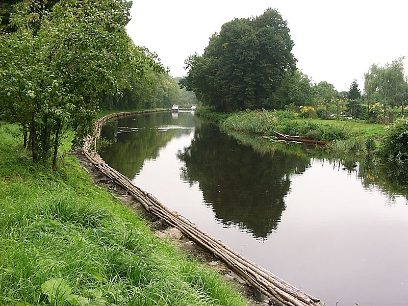 Templin Channel in Templin, Germany. Riverbank strengthened with fascines.