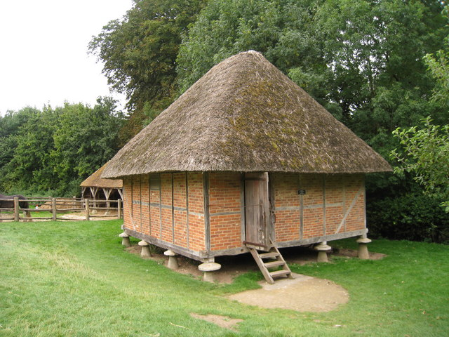 Originally from West Ashling, Sussex. The mushroom shape 'staddle stones' elevating the building off the ground were to prevent vermin and damp