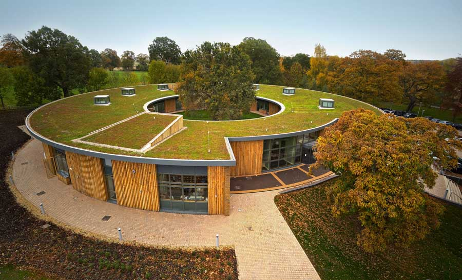 Green roof at the British Horse Society headquarters