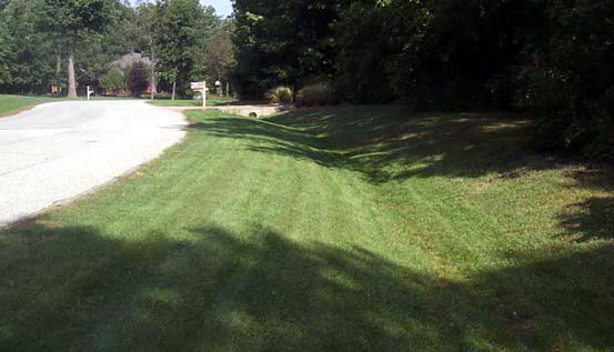 View of a grass-lined channel, also called a grassy swale or bioswale, in the US(U.S. Department of Agriculture, Natural Resources Conservation Service)