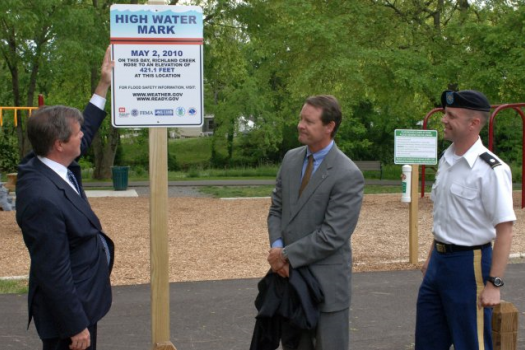 Mayor Karl Dean unveils the High Water Mark Initiative on the 3-year anniversary of the city's May 2010 flood (Nashville, TN, USA).