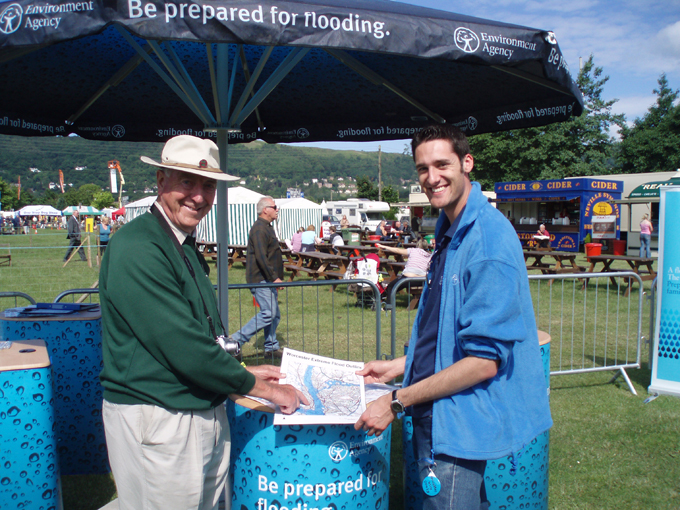 The Environment Agency (UK) raising awareness of flood risk at the Three counties show.