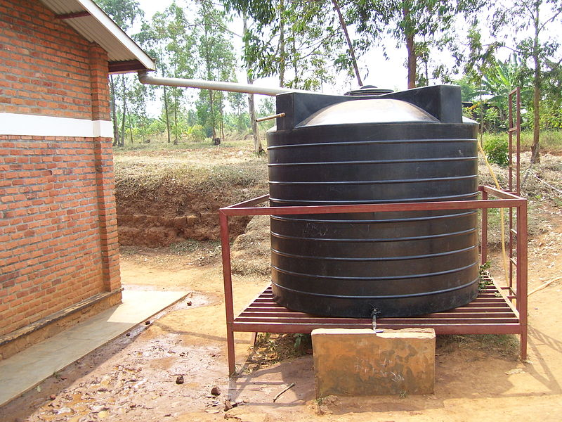 Rainwater Harvesting tank, also connected to a piped water supply. Picture by C.Rieck (2011)