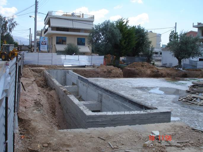 Retention tank of Acharnai case study during construction