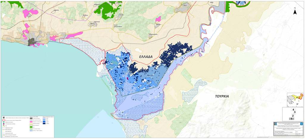 Flood hazard map, Evros river, provided by Greek Ministry of Environment, under EU Flood directive 2007/60