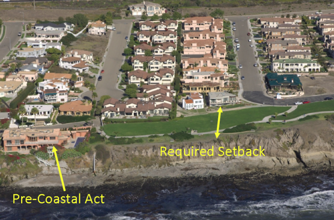 A pre-Coastal Act home and more current setback requirements along a blufftop in Pismo Beach impacted by bluff erosion. Lester C., 2014(Tim Paone and Our Land Use & Natural Resources Team)