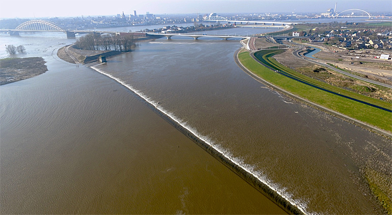 Flood relief channel along river Rhine at Nijmegen, the Netherlands