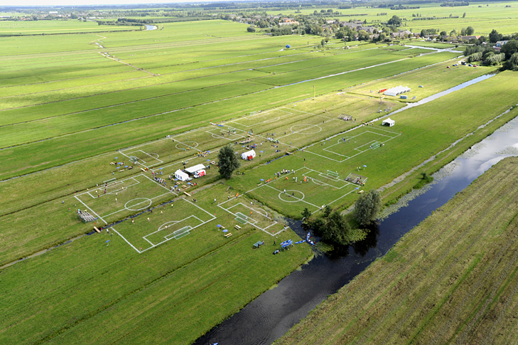 The Polder Cup a art project/football tournament that had pitches intersected with canals in the Netherlands